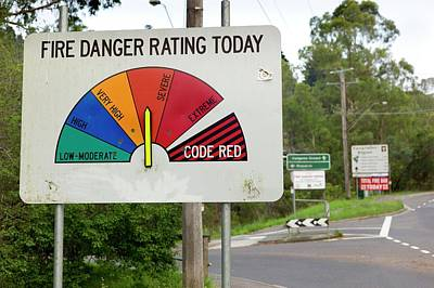 Rating Photograph - Fire Danger Rating Road Sign by Dr Jeremy Burgess