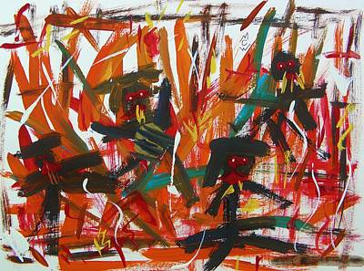Fire Devils-no Relief Art Print by Mary Carol Williams