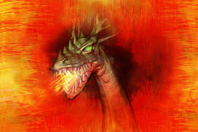 Mythical Creatures Digital Art - Fire Dragon by Carol and Mike Werner