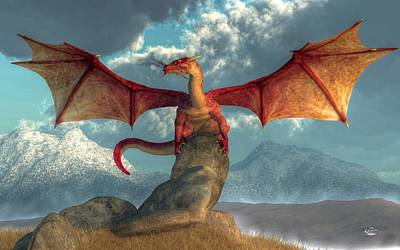 Tolkien Digital Art - Fire Dragon by Daniel Eskridge