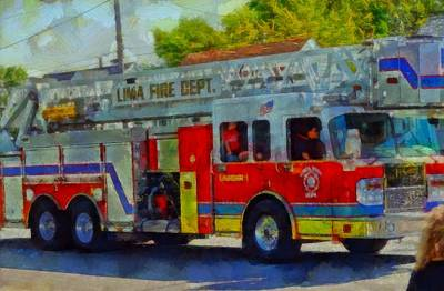 Fire Department Painting - Fire Engine In Parade by Dan Sproul