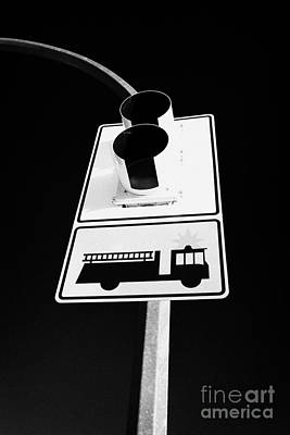 Stop Sign Photograph - fire engine stop sign and signal Saskatoon Saskatchewan Canada by Joe Fox