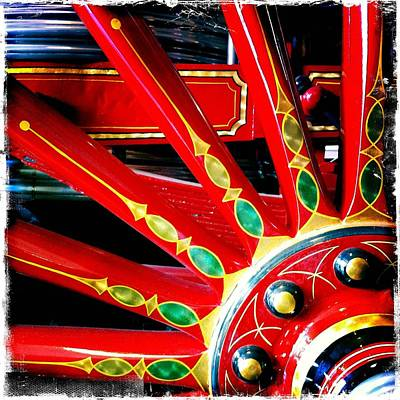 Wagon Wheel Hub Wall Art - Photograph - Fire Engine Wagon Wheel by Rockstar Artworks