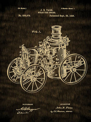 Drawing - Fire Equipment - 1896 Steam Fire Engine Patent by Barry Jones