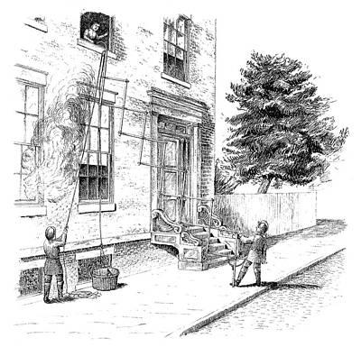 Fire Escape Painting - Fire Escape, 1840 by Granger