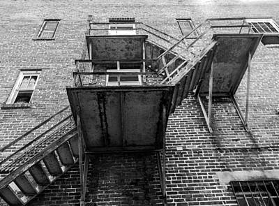 Photograph - Fire Escape Bw by Christy Usilton