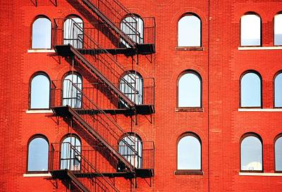 Fire Escape Of Red Building Art Print by Travis Chambers / Eyeem