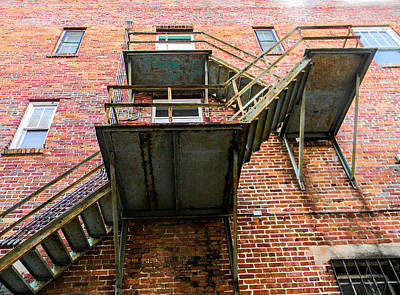 Photograph - Fire Escape On Red Brick by Christy Usilton