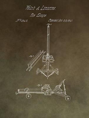 Mixed Media - Fire Escape Patent Antique Brown by Dan Sproul