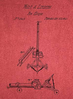 Dangerous Mixed Media - Fire Escape Patent Red by Dan Sproul
