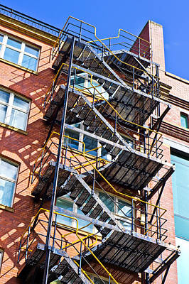Brick Building Photograph - Fire Escape by Tom Gowanlock