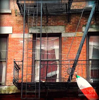 Photograph - Fire Escape With Italian Flag - Little Italy by Miriam Danar