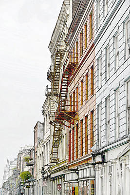 Geometrical Photograph - Fire Escapes New Orleans by Christine Till