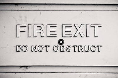 Exclamation Photograph - Fire Exit Sign by Tom Gowanlock