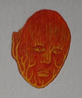 Art Print featuring the painting Fire Face by Steve  Hester