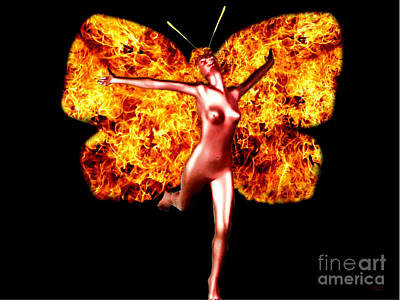 Digital Art - Fire Fairy by Steed Edwards