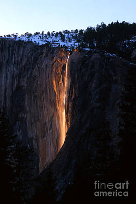 Fire Falls In Yosemite  Art Print