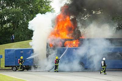 Inferno Photograph - Fire Fighters Tackle A Coach Blaze by Ashley Cooper