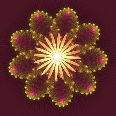 Fire Flower Mandala Art Print by Svetlana Nikolova