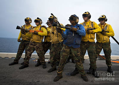 Bath Time - Fire Hose Teams Stand By In Case by Stocktrek Images