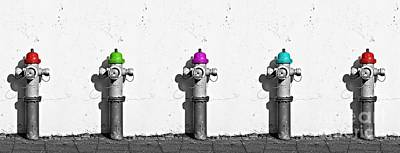 In A Row Photograph - Fire Hydrants by Dia Karanouh