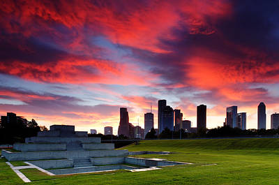 Police Art Photograph - Fire In The Houston Sky by Silvio Ligutti