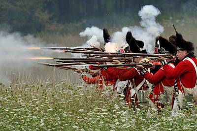 Revolutionary Wars Re-enactment Photograph - Fire In The Meadow by William Coffey