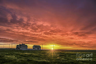 Country Cottage Photograph - Fire In The Sky by Evelina Kremsdorf