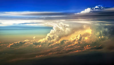 Thunderstorm Photograph - Fire In The Sky From 35000 Feet by Scott Norris
