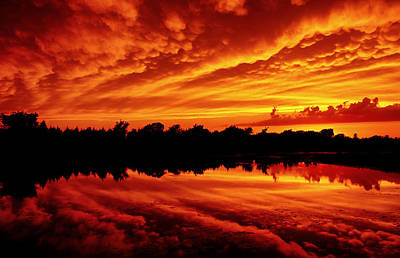 Print featuring the photograph Fire In The Sky by Jason Politte