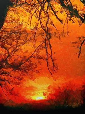 Yellow Painting - Fire In The Sky by Jeff Kolker