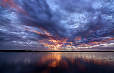 Photograph - Fire In The Sky Sunset Over The Lake by Todd Aaron