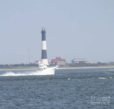 Photograph - Fire Island Lighthouse With Boat Racing By #3 Of 4 by John Telfer