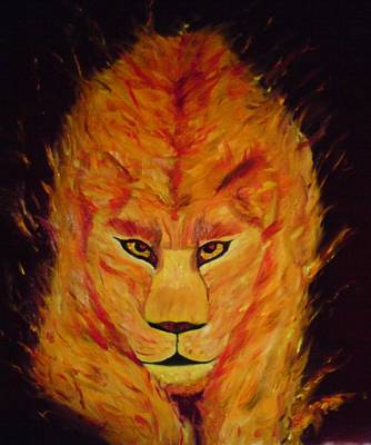 Art Print featuring the painting Fire Lioness by Persephone Artworks