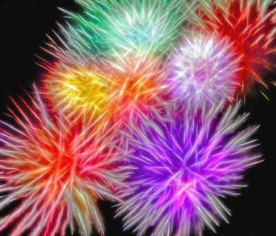 Fire Mums - Fireworks Collage 2 Art Print by Steve Ohlsen