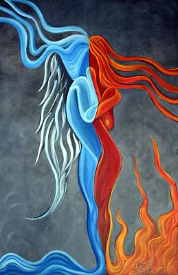 Yin And Yang Painting - Fire N Ice by Laura Barbosa