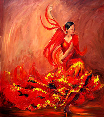 Pallet Knife Painting - Fire Of Life Flamenco by Sheri  Chakamian