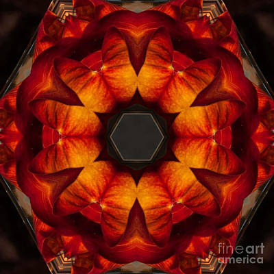 Concentration Digital Art - Fire On Fire Red Orange Dusty Brown And Black by Dawn Boyer