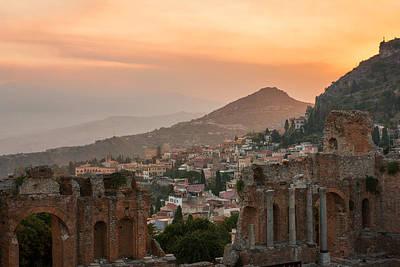 Photograph - Fire Over Taormina City by Gurgen Bakhshetsyan