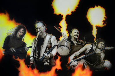 Drum Art Painting - Metallica - ' Fire Rain On Me ' by Christian Chapman Art