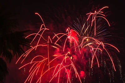 Photograph - Fire Red Orange Fireworks Galveston by Jason Brow