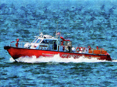 New York City Photograph - Fire Rescue Boat by Susan Savad