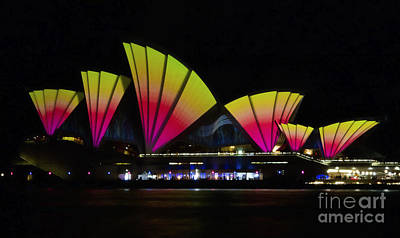 Photograph - Fire Sails - Sydney Vivid Festival - Sydney Opera House by Bryan Freeman