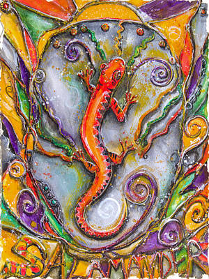 Fire Salamander - Children Of The Earth Series Original by Patricia Allingham Carlson