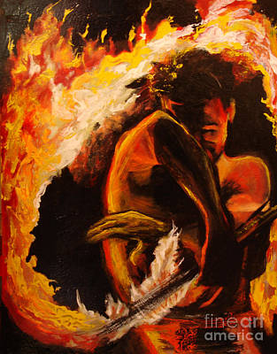 Samoan Painting - Fire Spin by Donna Chaasadah