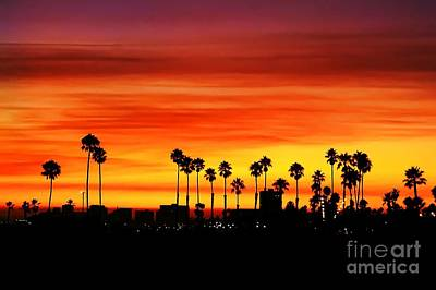 Art Print featuring the photograph Fire Sunset In Long Beach by Mariola Bitner