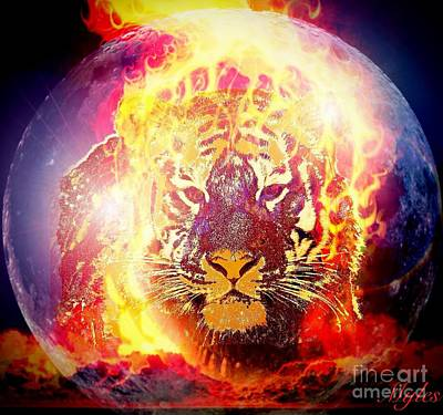 Digital Art - Fire Tiger In The Sky Fantasy by Saundra Myles