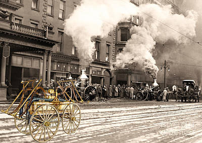 Fire Truck In New York 1890 Collage Art Print