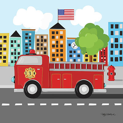 Firetruck Painting - Fire Truck by Kathy Middlebrook