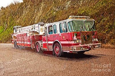 Fire Truck Ladder Unit. Art Print